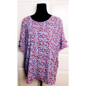 Liz Claiborne floral double ruffle sleeve blouse